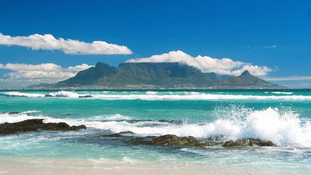 Coastline View of Table Mountain, South Africa