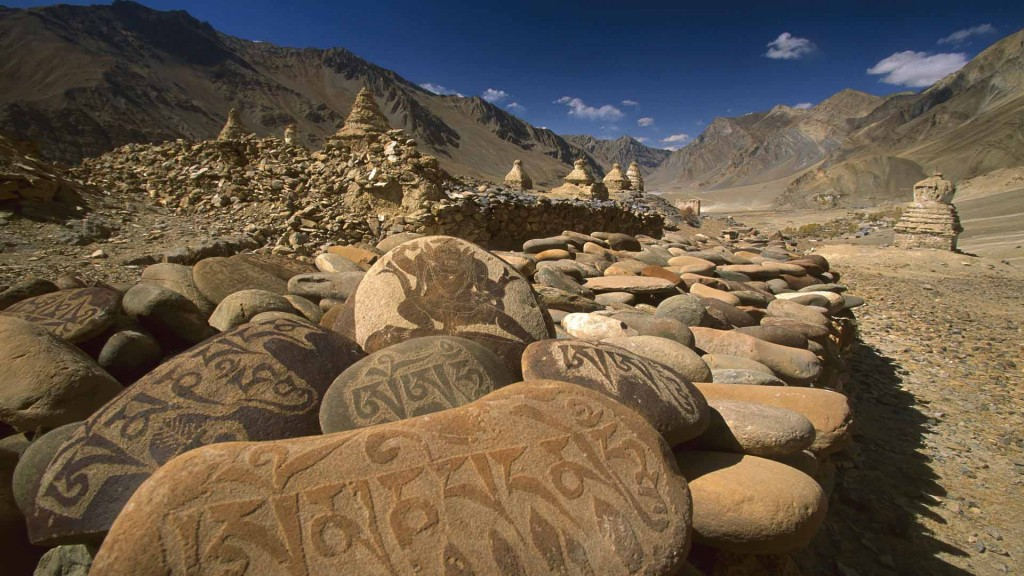 Carved Buddhist Mani Stones, Zangla, Kingdom of Zanskar, India