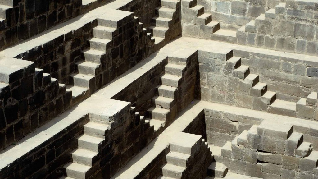 Detail of Chand Baori, one of the oldest ¥baori¥ (step-well). Abhaneri, Rajasthan. India